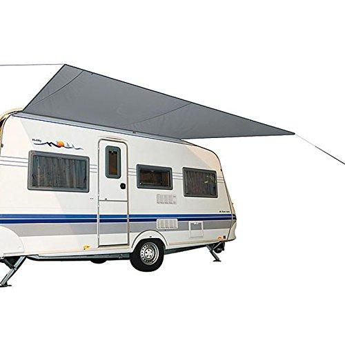 Wohnwagenmarkise Travel 350 x 240 cm, Sonnensegel Wohnwagenmarkise Plane mit Sehne für Caravan Schiene Schnelle und leichte Anbringung Plane kann fest am Wohwagendach aufgerollt Werden.
