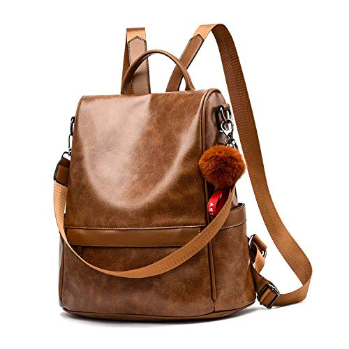 Women Daypack Backpack Lightweight Stylish Purse Waterproof Nylon or PU Leather Fashion Shoulder Bag Anti-theft Travel Daypack Rucksack (L, PU Brown)