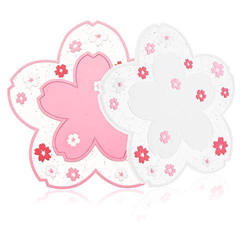 conisy Untersetzer aus Silikon 6er Set,Rutschfestes hitzebeständiges modern Deko Tassenuntersetzer mit Sakura Blumen Muster – 11,5 cm (pink und weiß)