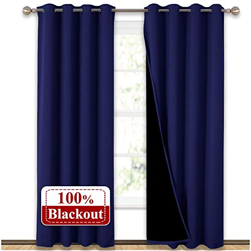"NICETOWN 100% Blackout Blinds, Laundry Room Decor Window Treatment Curtains, Thermal Insulated Energy Smart Drapes and Draperiers for Villa, Hall and Studio, Royal Navy Blue, Set of 2, 52"" x 95"""