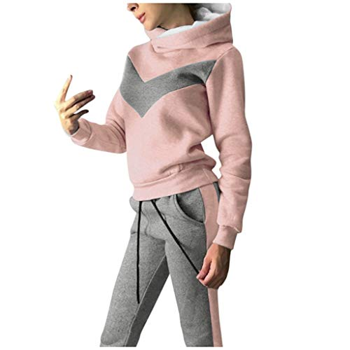 Mujer Conjuntos de Sudadera con Capucha Calido + Suave Cómodo Pantalones de Yoga Fitness Jogging Empalme Hoodie Trajes de Chándal Deportes y Aire Libre Fannyfuny