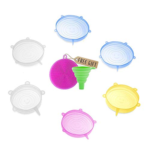DARUNAXY Silicone Stretch Lids, 6 pcs Assorted Color Same Sizes and Shape...