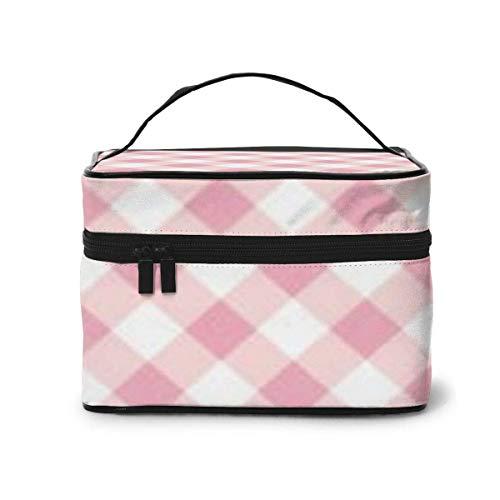 Organisateur de Cas cosmétique de Voyage en Treillis Rose Portable avec, Poche intégrée, Sacs de Toilette Multifonction
