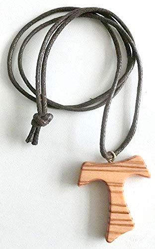 10.444.90 LAC Collar Cruz Tau 4 cm San Francesco Asisi Madera de olivo Paz Comunión