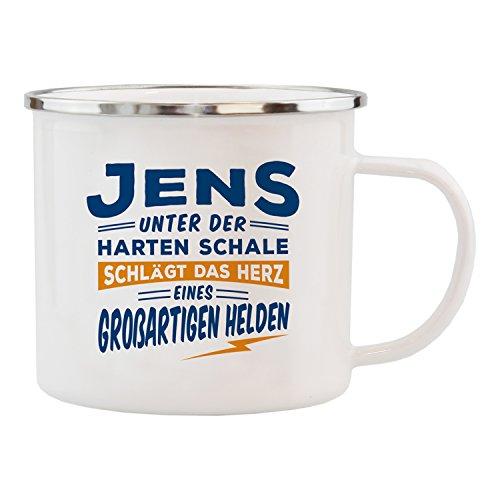 History & Heraldry Echter Kerl Emaille Becher, Jens, Mehrfarbig