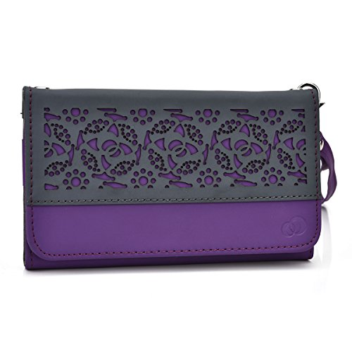 Kroo Deco Designed Wristlet Clutch Wallet for 5.1-Inch Phones - Non-Retail Packaging - Purple