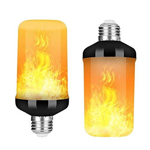 Mintice 2 X Flammen Lampe Glühbirne Flammenlicht E27 Base 9W LED Flammeffekt flackernde Feuerglühbirnen 4 Beleuchtungsmodi Schwere Atmung dekorativ retro Garten Hochzeit