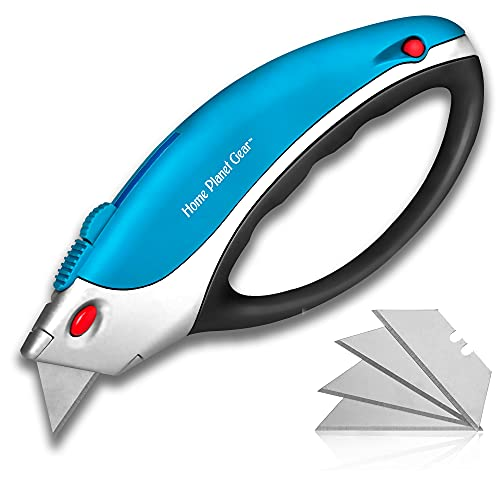 Box Cutters Utility Knife - Retractable - Multi-Position Blade, Locking - 5 Sharp Blades with Storage in Non-Slip Handle Ergonomic, Easy Comfort Grip Design Great for Weak Hands!