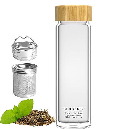 amapodo Botella de té de cristal con colador de acero inoxidable – Botella de té de 400 ml – Tetera para llevar – Botella de doble pared con tapa de bambú