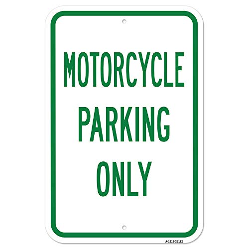 "Motorcycle Parking Only | 12"" X 18"" Heavy-Gauge Aluminum Rust Proof Parking Sign 
