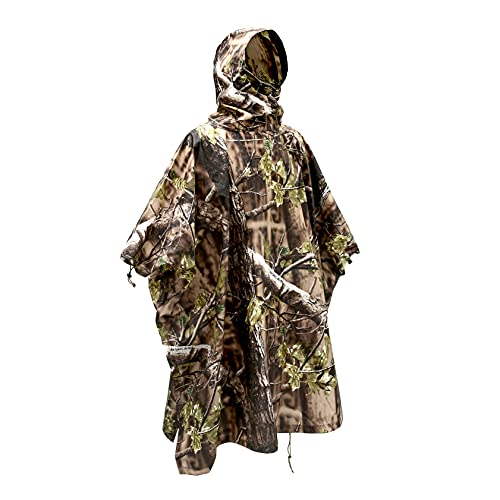 Woodland Camo Rain Poncho Hooded Waterproof Camouflauge Raincoat for Hunting Hiking Camping Fishing Forest Green