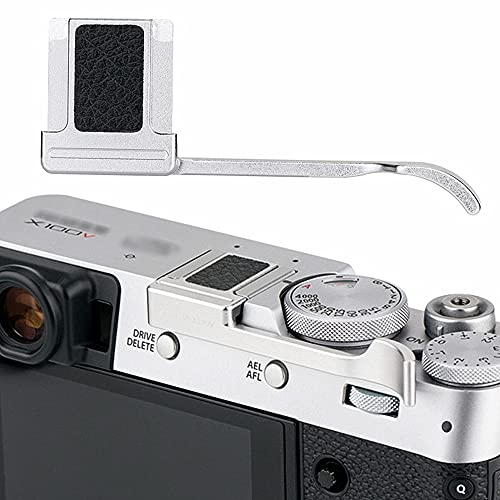 JJC Deluxe Metal Thumb Up Grip for Fujifilm Fuji X100V X100F X-E4 XE4 X-E3 XE3 Thumb Rest Support/Silver