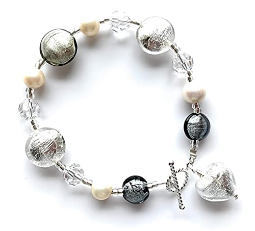 Diana Ingram bracelet with grey and crystal silver Murano glass mixed beads, crystals, white pearls and small heart charm on Sterling Silver clasp