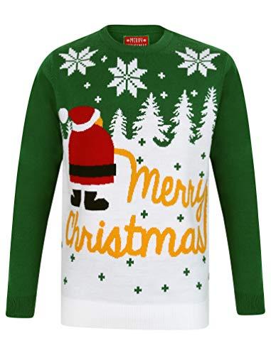 """Tokyo Laundry Herren Pullover """"Merry Christmas"""" Gr. Medium, Weihnachts-Schnee, Weihnachten, Grün"""