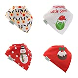 Tis The Season - Babero de Navidad con diseño de bandana, superabsorbente, 4...