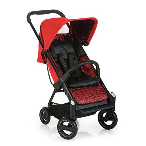 iCOO Acrobat kompakter Buggy bis 18 kg mit Liegefunktion ab Geburt, mit einer Hand klein klappbar, leicht - aus Aluminium, höhenverstellbarer Schiebegriff, Reflektoren – Rot