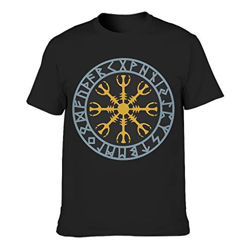 Wikinger 3D Kreativ Männer T-Shirts3D MusterTee Classics Herren T-Shirt BeiläufigeT-Stücke Black 4XL