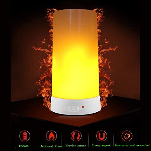 Lampe de table flamme LED, lampe décorative, USB de charge, portable aimant bar, restaurant bar hôtel créer une atmosphère rêveuse lumière de flamme LED, 5,*5