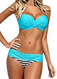 EVALESS Womens Sexy Two Piece Bandeau Bikini Swimsuits Triangle Bathing Suits Swimwear Blue Large 12 14