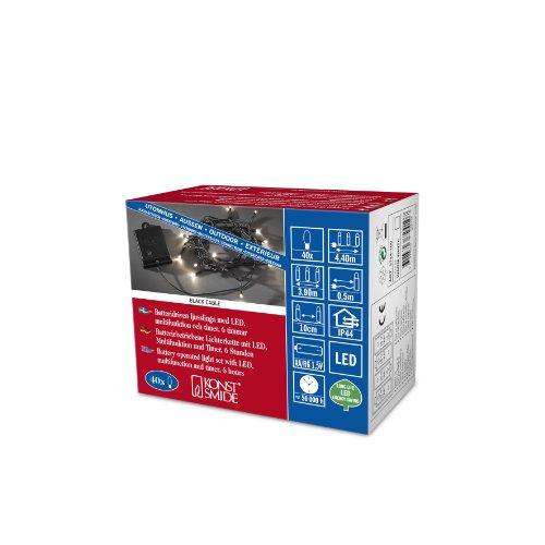 Konstsmide 3724-100 LED Lichterkette / für Außen (IP44) / Batteriebetrieben: 4xAA 1.5V (exkl.) / 40 warm weiße Dioden / mit Schalter / 6h Timer / 8 Funktionen und Memoryfunktion / schwarzes Kabel