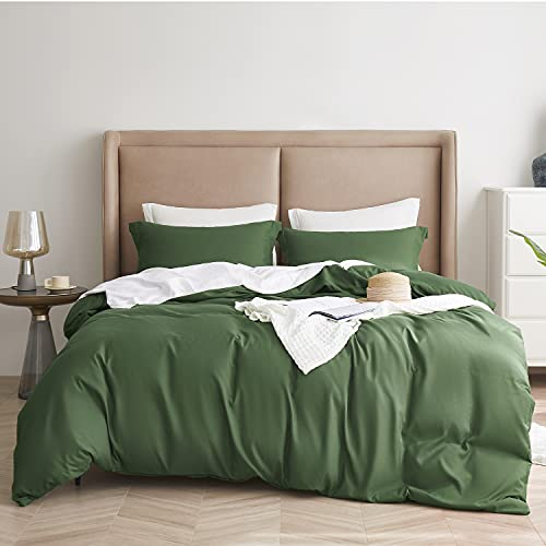 Bedsure Olive Green Duvet Covers Queen Size - Brushed Microfiber Soft Queen Duvet Cover Set 3 Pieces with Zipper Closure, 1 Duvet Cover 90x90 inches and 2 Pillow Shams
