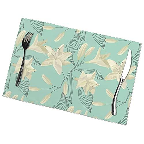 Juego de 6 adornos para mesa de comedor de tela lavable para decoración de mesas de restaurante familiar.