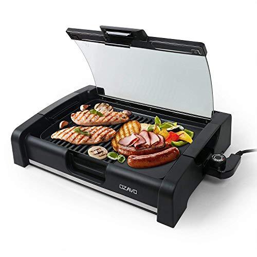 OZAVO BBQ Tischgrill mit Glasdeckel, Elektrogrill, Barbecue elektrisch Grillfläsche, Grillpaltte 1650Watt, verstellbarer Thermostat