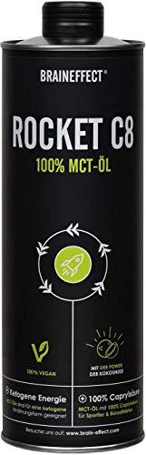 BRAINEFFECT MCT Öl C8 - ROCKET C8 (Caprylsäure) - 1000ml Aluminiumflasche - Extrakt aus Kokosöl - Ketogene Ernährung, Bulletproof Coffee, Smoothies & Dressing - Geschmacksneutral - Vegan