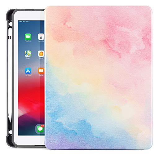 New iPad 7th Generation 10.2' Case 2019,TeenGrow Smart Stand Shockproof Soft TPU Back Cover with Auto Sleep/Wake for Apple iPad 7th Gen 10.2 Inch (Case Fit New iPad 10.2 2019, iPad 10.5, Watercolor 2)