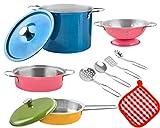 MALATEC Kinder Kochgeschirr 2 Varianten Bunt/Metall Topfset Topf und Pfannen 8246, Farbe:Bunt