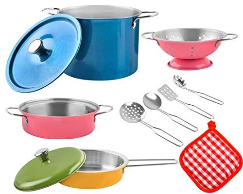 MALATEC Batería de cocina infantil de 2 variantes, multicolor, de metal, juego de ollas y sartenes, 8246