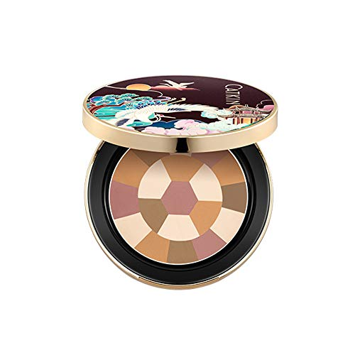 CATKIN Face Pressed Powder Foundation Compact Matte Conceal Color Correcting Pores Lightness Silky Smooth Creamy Texture (C04 Dark Brown)