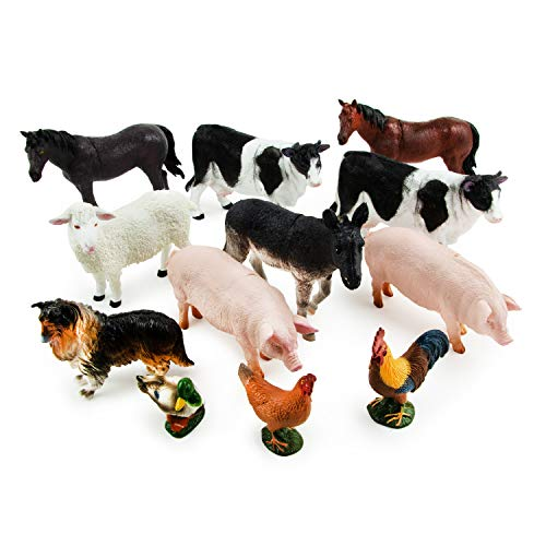 Boley Farm Animal Figures - 12 Pack Small Farm Animal Toys Kids Ages 3 and Up - Realistic Plastic Animal Figurines - Farm Animals for Toddlers