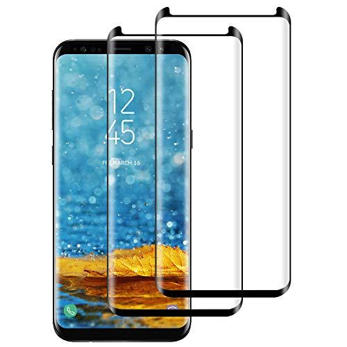 DASFOND [2 Pezzi Vetro Temperato per Samsung Galaxy S8 Plus, Pellicola Protettiva Vetro per Galaxy S8 Plus [9H Durezza,3D Curvo Copertura Completa,Anti-Graffi,Ultra HD] Samsung S8 Plus Tempered Film