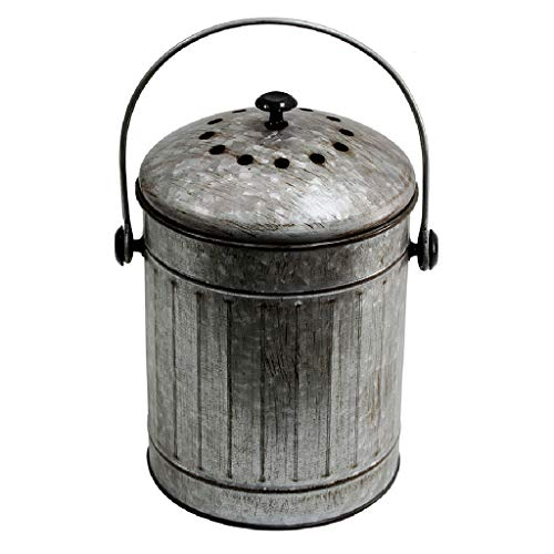 Save %23 Now! Stainless Steel Compost Bin Round Trash Can,Kitchen Compost Pail with Bsorbx Odor Filt...