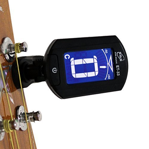 Eno ET-33 Mini Auto Chromatic Acoustic Guitar Tuner Clip on for Guitar Bass Violin Ukulele, 360 Degree Rotate, Chromatic Tuner