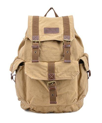 Gootium Canvas Rucksack Backpack Wanderrucksack Vintage Rucksäcke Unisex - Beige
