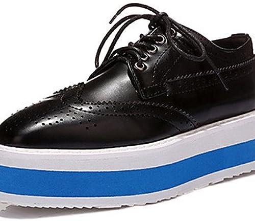 NJX  Chaussures Femme - Décontracté - Noir   Marron   Blanc - Plateforme - Bout Carré - Richelieu - Similicuir