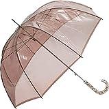 Bisetti - Paraguas Manual Largo | Paraguas Antiviento Ideal para Viajes, Hombre y Mujer, Transparente, Mango Blanco