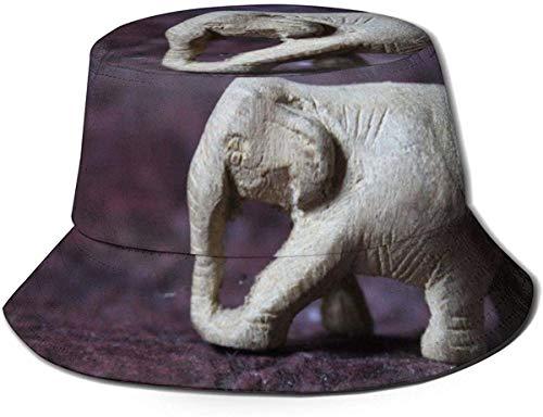 Sombrero de Cubo de Viaje de Elefante de Piedra Unisex Gorra de Pescador de Verano Sombrero de Sol-Elefante de Piedra