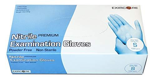 Guantes de nitrilo - sin látex, sin polvo, color azul - Talla S - Caja de 100 Unidades