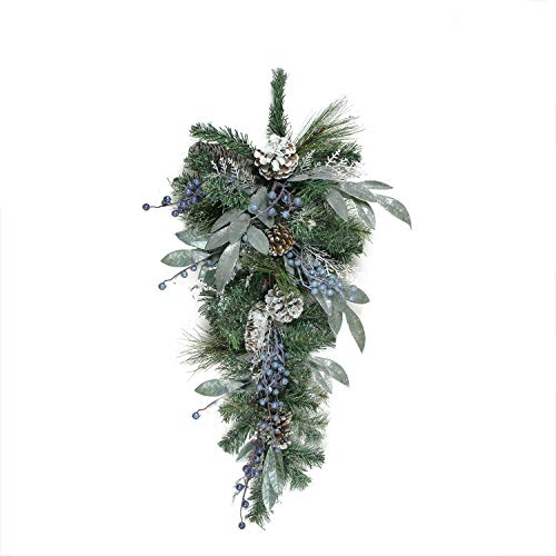 """Northlight Mixed, Berries and Snowy Pine Cones Artificial Christmas Teardrop Swag-Unlit, 28"""", Blue"""