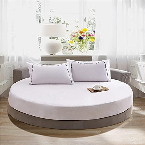ZHAOMIAO Sábana Ajustable Redonda de algodón 100%, Funda de colchón Circular, Funda de Almohada, Juego de Cama de Color sólido romántico, Hotel 220cm 8