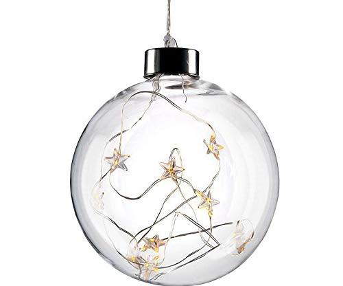 Solight Led di Natale Palla di Vetro, 10led, 2x Aa, Ip20, la Soluzione di Illuminazione, Illuminazione di Natale, X-mas Led Decorazioni, 1v204
