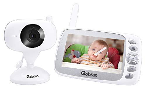 Babyphone mit Kamera 4,3 Zoll LCD Bildschirm Erweiterbare 2 Kameras,Gobran Videoüberwachung Videokamera Baby Monitor,Nachtsicht,VOX Sprachaktivierung,Zwei-Wege-Audio,Temperaturüberwachung,Schlaflieder