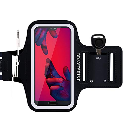BRAVESHINE Armband for Phone Running - Workout Sports Arm Band - Sensitive Screen Running Case Phone Holder for iPhone 11 Pro iPhone XR iPhone Xs MAX iPhone 8 Plus iPhone 7 Plus Screen Up to 6.5 Inch