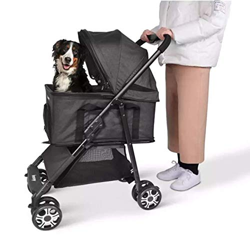 24x7 eMall 4 Wheeler Elite Pet Stroller, Pram Breathable, Dog Cat Easy to Walk Folding Travel Carrier with Cup Holder and Padded Handles. Black