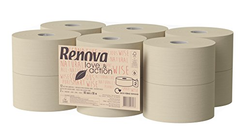 Renova wc-papier Jumbo Love & Action, beige, 12 stuks