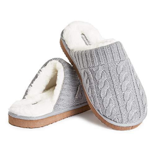 Dunlop Zapatillas Casa Hombre, Pantuflas Hombre De Forro Polar Suave, Zapatillas Hombre con Suela Antideslizante Interior Exterior, Regalos para Hombres y Chicos Adolescentes (Gris, Numeric_41)