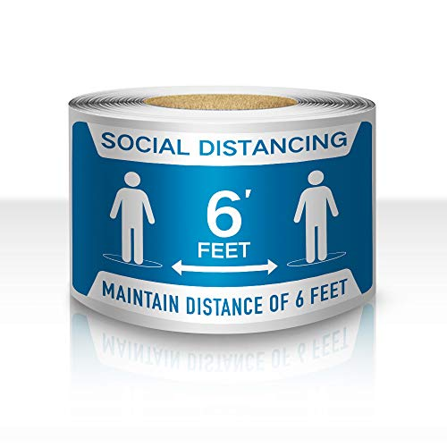 200 PCS Practicing Social Distancing Sign 4'×6' Maini Distance of 6 Feet Window Sticker Tape Removable Waterproof 6 Feet Apart Vinyl Decal Business Public Safety Sign